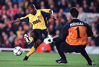Sylvian Wiltord shoots past Sparta Prague goalkeeper Tomas Postulka but his shot hits the post. Arsenal 4:2 Sparta Prague, UEFA Champions League, Group B, 25/10/2000. Credit Colorsport / Stuart MacFarlane.