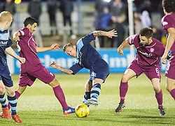 Arbroath's Omar Kader, Forfar Athletic's David Cox and -ah6-. Forfar Athletic 0 v 1 Arbroath, Scottish Football League Division Two game played 10/12/2016 at Station Park.