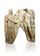 Roman Sebasteion relief  sculpture of Demeter and Triptolemos, Aphrodisias Museum, Aphrodisias, Turkey. <br /> <br /> Deneter - stately, veiled and holding a sceptre - hands a bunch of wheat stalks to the young hero Trptolomos. Demeter was the grain goddess, and it was Triptolemos, a hero from Eleusis near Athens, whom she chose to bring grain cultivation to mankind .<br /> <br /> If you prefer to buy from our ALAMY STOCK LIBRARY page at https://www.alamy.com/portfolio/paul-williams-funkystock/greco-roman-sculptures.html . Type -    Aphrodisias     - into LOWER SEARCH WITHIN GALLERY box - Refine search by adding a subject, place, background colour, museum etc.<br /> <br /> Visit our ROMAN WORLD PHOTO COLLECTIONS for more photos to download or buy as wall art prints https://funkystock.photoshelter.com/gallery-collection/The-Romans-Art-Artefacts-Antiquities-Historic-Sites-Pictures-Images/C0000r2uLJJo9_s0