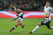 Manuel Lanzini of West Ham United taking a shot at goal. Premier league match, West Ham Utd v Manchester Utd at the London Stadium, Queen Elizabeth Olympic Park in London on Monday 2nd January 2017.<br /> pic by John Patrick Fletcher, Andrew Orchard sports photography.