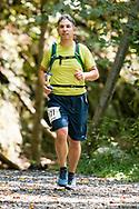 Kerhonkson, New York  - Rosendale, New York - A runner in the 13.1-mile race nears the finish line of fhe Shawangunk Ridge Trail Run/Hike on Sept. 16, 2017.