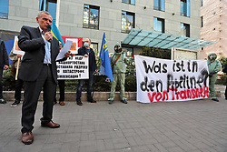 May 13, 2019 - Kyiv, Ukraine - Co-founder of the Free Idel-Ural movement Syres Bolyaien speaks during a picket outside the Embassy of the Federal Republic of Germany to call for the launch of an international audit of Russian oil production companies, Kyiv, capital of Ukraine, May 13, 2019. Ukrinform. (Credit Image: © Hennadii Minchenko/Ukrinform via ZUMA Wire)