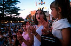 MALTA GOZO SANNAT JUL00 - Little girls clap at the appearance of the statue of Holy Mary at the start of the procession, marking the beginning of the Fiesta.. . jre/Photo by Jiri Rezac. . © Jiri Rezac 2000. . Tel:   +44 (0) 7050 110 417. Email: info@jirirezac.com. Web:   www.jirirezac.com