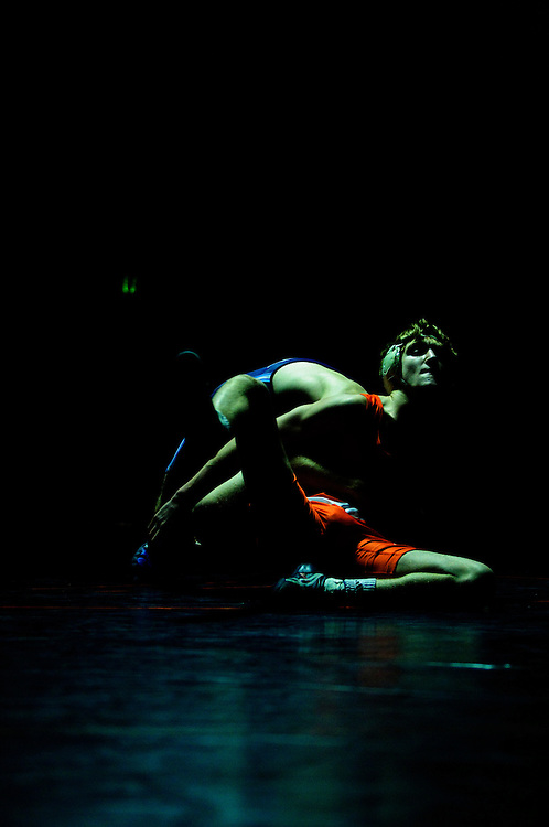 (staff photo by Matt Roth)..Reservoir's Seth Rowell defeated River Hill's Ryan Blum during the 125 weight match. Reservoir defeated guest River Hill 42-16 Tuesday, January 5, 2010.
