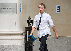 """© Licensed to London News Pictures;22/06/2021; Bristol, UK. DYLAN DUNNE charged with violent disorder, theft of police equipment and possession of a class B drug, and one of the defendants facing charges related to the """"Kill the Bill"""" protest and riot against Police, Crime, Sentencing and Courts Bill at Bristol Crown Court, outside court. During the protest on 21 March 2021 two police vehicles were burnt out and windows on Bridewell Police Station were smashed. The Police, Crime, Sentencing and Courts Bill proposes new restrictions on protests. Photo credit: Simon Chapman/LNP."""