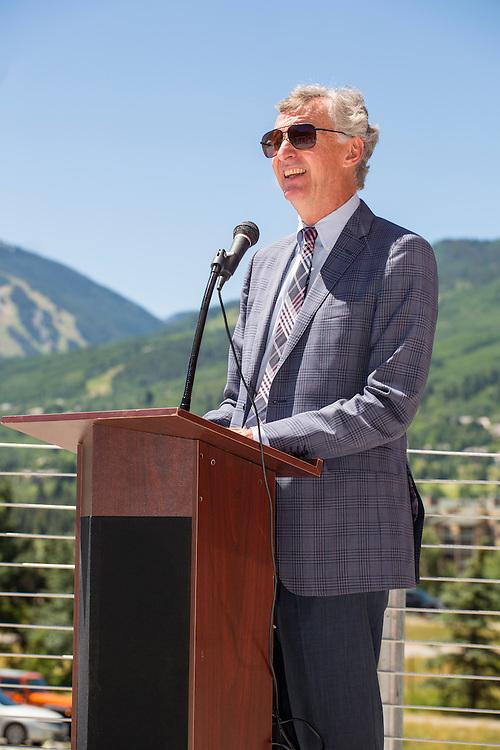 Speaker at Centura Health Ribbon Cutting. Avon, Colorado