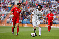 Real Madrid´s Solari (R) and Liverpool´s Luis Garcia during 2015 Corazon Classic Match between Real Madrid Leyendas and Liverpool Legends at Santiago Bernabeu stadium in Madrid, Spain. June 14, 2015. (ALTERPHOTOS/Victor Blanco)