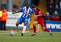 Photo: Richard Lane/Richard Lane Photography. <br /> Colchester United v Coventry City. Coca Cola Championship. 19/04/2008. United's Kevin Lisbie breaks past City's Michael Doyle.