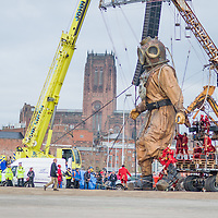 LIVERPOOL, UK, 21st April, 2012. The Sea Odyssey: A giant spectacular. A giant Uncle, his giant niece and her giant dog roam the city of Liverpool in search of each other.