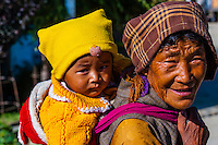 Grandmother and child, Gonggar, Shannan Prefecture, Tibet (Xizang), China.