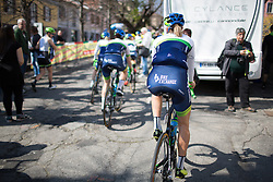 Loren Rowney (Orica-Greenedge Cycling Team) rolls to the sign-on of the Trofeo Alfredo Binda - a 123.3km road race from Gavirate to Cittiglio on March 20, 2016 in Varese, Italy.