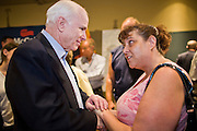"July 10, 2010 - PHOENIX, AZ: US Senator JOHN MCCAIN (R-AZ) greets supporters and volunteers after a town hall meeting in Phoenix. Sen. McCain held a ""town hall"" meeting at a hotel in Phoenix Saturday morning. He criticized the Obama administration's handling of the war in Afghanistan, specifically the July 2011 date for the beginning of the withdrawl of US forces, the administration's handling of the immigration and border security issue and the recently passed health care reform bill, which he called ""Obamacare."" McCain is in a primary battle with former Congressman JD Hayworth, he did not mention Hayworth, by name during the meeting.   Photo by Jack Kurtz"