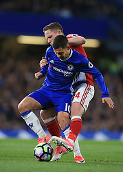 8 May 2017 - Premier League - Chelsea v Middlesbrough - Eden Hazard of Chelsea tangles with Adam Forshaw of Middlesbrough  - Photo: Marc Atkins / Offside.
