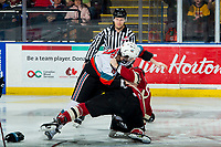 KELOWNA, BC - FEBRUARY 15: Mark Liwiski #9 of the Kelowna Rockets drops the gloves with Jayden Grubbe #9 of the Red Deer Rebels at Prospera Place on February 15, 2020 in Kelowna, Canada. (Photo by Marissa Baecker/Shoot the Breeze)