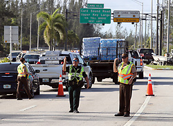 Police control access at a check point in Florida City, FL, USA, into the Florida Keys on Tuesday, September 12, 2017. Photo by Al Diaz/Miami Herald/TNS/ABACAPRESS.COM