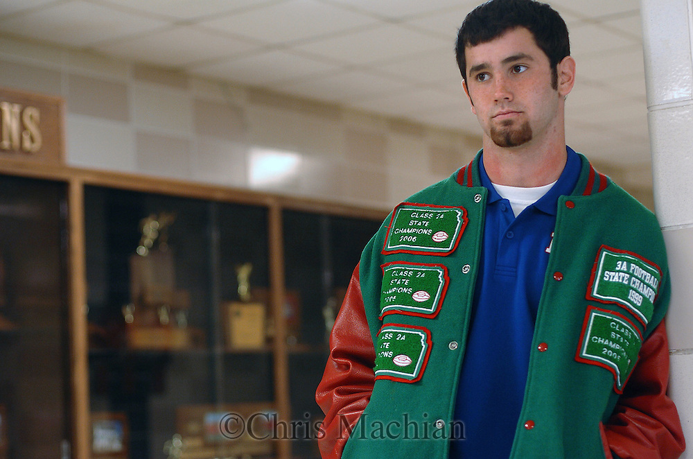 11/7/07 Smith Center, KS.Joe Windscheffel in front of the trophy case. He has never lost a high school football game...(Chris Machian/Prairie Pixel Group)