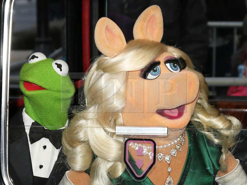 © Licensed to London News Pictures. 24/03/2014, UK. Kermit the Frog; Miss Piggy, Muppets Most Wanted - VIP screening, Curzon Mayfair, London UK, 24 March 2014. Photo credit : Richard Goldschmidt/Piqtured/LNP