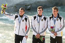 Silver medalists team Germany (Sideris Tasiadis, Jan Benzien and Franz Anton) in the Men's Canoe C-1 Teams at ICF Canoe Slalom World Championships - Sloka 2010 on September 12, 2010 in Tacen, Ljubljana, Slovenia (Photo by Matic Klansek Velej / Sportida)