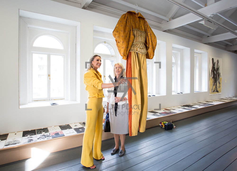 """18.05.2018.          <br /> More than 500 people attended the flagship event of the inaugural Unwrap LSAD Fashion Festival in Limerick.<br /> <br /> Graduate Aoife McNamara, Mungret Co. Limerick is pictured with her mother Deirdre McNamara with Aoife's Design, Anáil (breath).<br /> <br /> The Limerick School of Art & Design, LIT, Fashion Design Graduate Exhibition and launch of the """"The Fashion Film"""" at Limerick City Gallery of Art, in partnership with EVA International, attracted hundreds of people from the world of fashion. <br /> <br /> A total of 27 fashion graduates presented their designs alongside the specially commissioned film by fashion stylist and creative director Kieran Kilgallon and videographer Albert Hooi. Picture: Alan Place"""