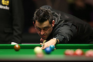 Ronnie O'Sullivan (Eng) in action. Ronnie O'Sullivan (Eng) v Joe Perry (Eng), the Masters Final at the Dafabet Masters Snooker 2017, at Alexandra Palace in London on Sunday 22nd January 2017.<br /> pic by John Patrick Fletcher, Andrew Orchard sports photography.