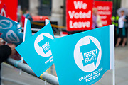 Brexit party flags outside the Houses of Parliament on 9th September 2019 in London, United Kingdom. Prime Minister Boris Johnson is tabling another motion to seek a general election.