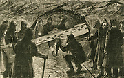 'Breaking down the last partition and men from both ends of the workings meeting in the railway tunnel under the River Mersey  lining Liverpool and Birkenhead.  Engraving, 1884.'