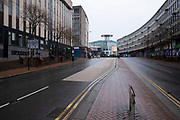 National coronavirus lockdown three begins in Birmingham city centre, which is deserted on Smallbrook Queensway on 6th January 2021 in Birmingham, United Kingdom. Following the recent surge in cases including the new variant of Covid-19, this nationwide lockdown, which is an effective Tier Five, came into operation today, with all citizens to follow the message to stay at home, protect the NHS and save lives.