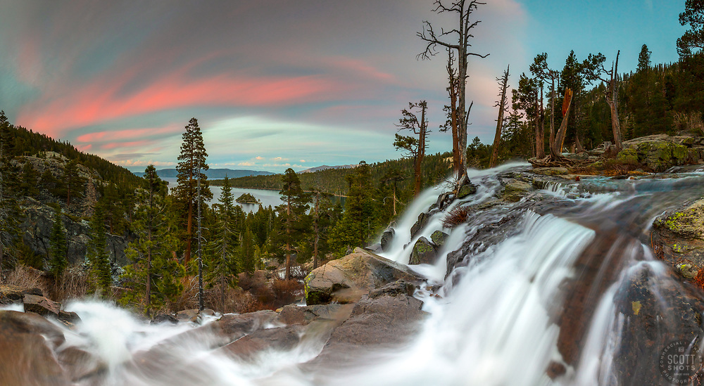 """""""Eagle Falls At Emerald Bay 11"""" - Stitched panoramic photograph of a pink sunset and a flowing Eagle Fall above Emerald Bay, Lake Tahoe."""
