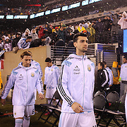 Javier Pastore, Argentina, as the teams head onto the field during the Argentina Vs Ecuador International friendly football match at MetLife Stadium, New Jersey. USA. 31st march 2015. Photo Tim Clayton