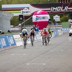27-09-2020: wielrennen: WK weg mannen: Imola<br /> SPrint second place won by Wout van Aert for Hirschi27-09-2020: wielrennen: WK weg mannen: Imola<br /> Julian Alaphillipe world champion road in Imola Italy. 2nd Wout van Aert (Belgium) and 3th Mark Hirschi (Switserland)
