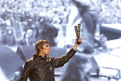 © Licensed to London News Pictures . FILE PICTURE DATED 30/06/2012. Manchester, UK. The Stone Roses are to headline at the 2013 Isle of Wight Festival organisers have announced today (26th November 2012). Pictured: The Stone Roses, fronted by Ian Brown , perform at Heaton Park in Manchester , for their Second Coming event in June 2012 . Photo credit : Joel Goodman/LNP