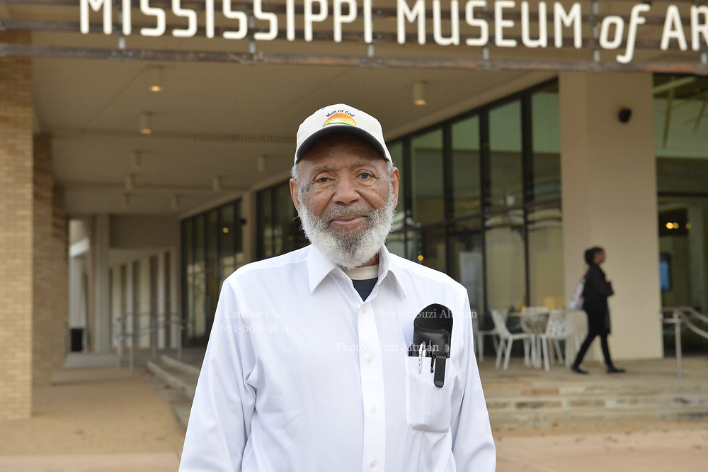 "11/21/19 Jackson,MS. James Meredith  leads a conversation at the Mississippi Museum of Art on the U.S. Constitution, citizenship and art, focused on artist Mildred Wolfe's ""Four Freedoms"". Meredith said he has always though of himself as an artist and used the United States Constitution to get him into Ole Miss. Joining Meredith in the conversation was Professor Hilliard Lackey, left and Lt.Col. Andy Thaggard. Photo©Suzi Altman"