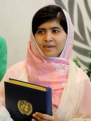 Malala Yousafzai, the 16-year-old Pakistani advocate for girls education who was shot in the head by the Taliban, attends a conversation with the United Nations Secretary General Ban-ki Moon and other youth delegates at the United Nations Youth Assembly in New York City, NY, USA on July 12, 2013. The United Nations declared July 12 'Malala Day.' Malala also celebrates her birthday today. Photo by Dennis Van Tine/ABACAPRESS.COM  | 372898_008 New York City Etats-Unis United States