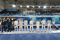 October 7, 2018 - City Of Buenos Aires, City of Buenos Aires, Argentina - SPORT. City of Buenos Aires, Argentina - 2018, October 7.- Fencing athletes openning the first day of Buenos Aires 2018 Youth Olympic Games at Youth Olympic Park on October 7, 2018 in City of Buenos Aires, Argentina. (Credit Image: © Julieta Ferrario/ZUMA Wire)