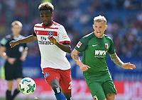 v.l. Gideon Jung (HSV), Jonathan Schmid<br /> <br /> Hamburg, 19.08.2017, Fussball Bundesliga, Hamburger SV - FC Augsburg 1:0<br /> <br /> Norway only