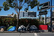 Tents are lined up on outside a hotel property in San Francisco, CA on June 22, 2020. Many individuals living in tents were required to move to relocate following a lawsuit filed by UC Hastings School of Law against the City of San Francisco.