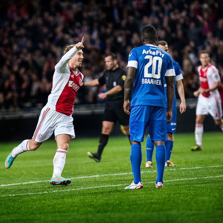 Nederland. Amsterdam, 29-09-2012. Foto: Patrick Post.  Ajax-Twente. Uitslag: 1-0. Ajacied Christian Eriksen juicht na het scoren van de 1-0.