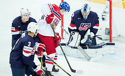 Vladimir Sobotka of Czech Republic vs Connor Hellebuyck of USA during Ice Hockey match between USA and Czech Republic at Third place game of 2015 IIHF World Championship, on May 17, 2015 in O2 Arena, Prague, Czech Republic. Photo by Vid Ponikvar / Sportida