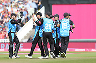 Worcestershire Rapids celebrate during the Vitality T20 Finals Day semi final 2018 match between Worcestershire Rapids and Lancashire Lightning at Edgbaston, Birmingham, United Kingdom on 15 September 2018.