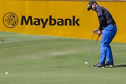 February 3, 2018 - Shah Alam, Kuala Lumpur, Malaysia - Shubhankar Sharma is seen taking a shot from hole no 18 on day 3 at the Maybank Championship 2018...The Maybank Championship 2018 golf event is being hosted on 1st to 4th February at Saujana Golf & Country Club. (Credit Image: © Faris Hadziq/SOPA via ZUMA Wire)