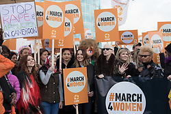 © Licensed to London News Pictures. 05/03/2017. LONDON, UK.  Celebrities join feminist activists take part in the March4Women, organised by CARE International to mark International Women's Day. The Women's Day March begins at The Scoop near City Hall, before proceeding over Tower Bridge and finishing at the Tower of London. Photo credit: Vickie Flores/LNP