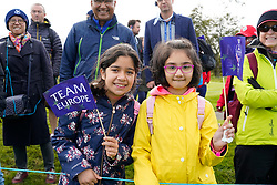 Auchterarder, Scotland, UK. 15 September 2019. Sunday Singles matches on final day  at 2019 Solheim Cup on Centenary Course at Gleneagles. Pictured; Young Team Europe fans beside fairway. Iain Masterton/Alamy Live News