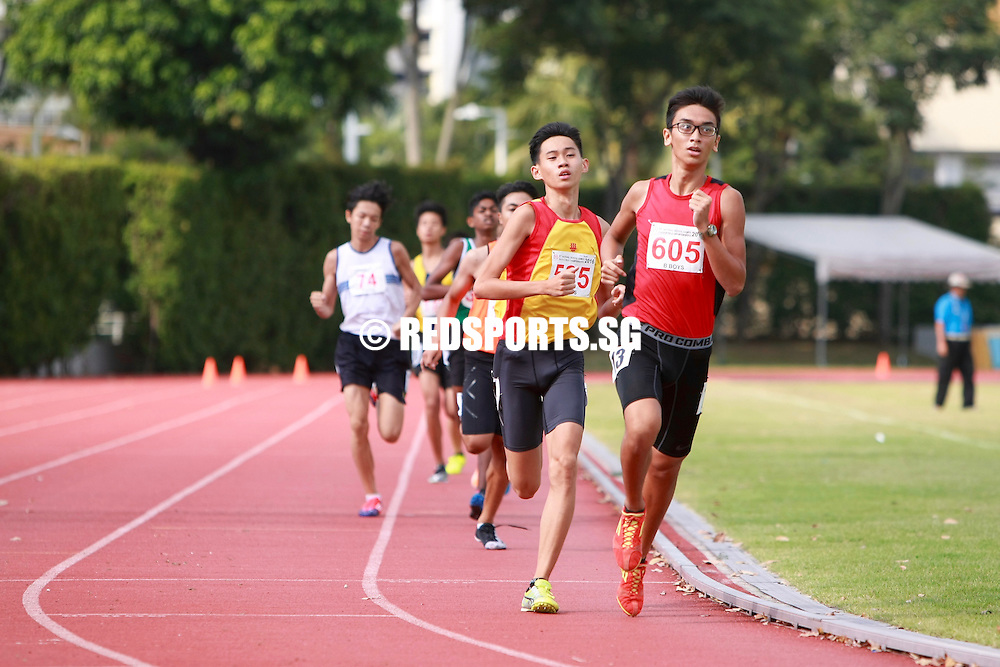 Bishan Stadium, Friday, April 22, 2016 — Thiruben S/O Thana Rajan of National Junior College clocked an eye-catching 2 minutes 0.47 seconds to claim the B Division Boys' 800 metres gold at the 57th National Schools Track and Field Championships.<br /> <br /> Zulkhairi Putera (2:04.29) of Singapore Sports School (SSP) and Oliver Lim (2:05.04) of Anglo-Chinese School (Independent) [ACS(I)] finished in second and third respectively.