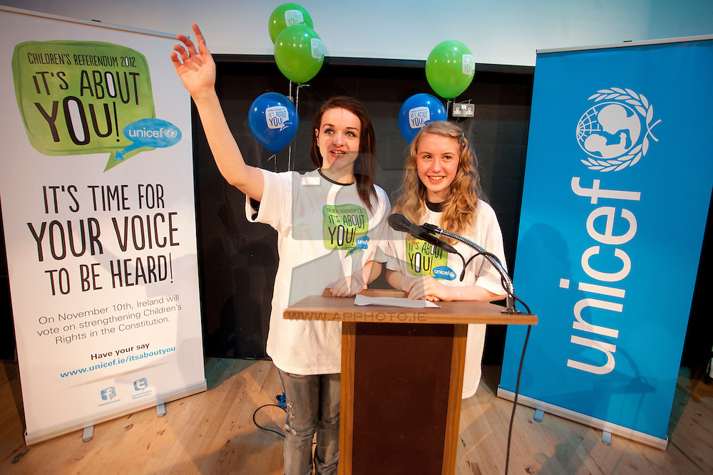 Repro Free: 05/10/2012 .Lucienne Palmer (14) from Blackrock and Kirsty Nolan (14) from Dundrum both of Newpark Comprehensive School are pictured speaking at the launch of UNICEF Ireland's contribution to the Children's Referendum Campaign, 'It's About You'. The campaign includes a video explaining the Referendum in children's words and a resource pack for thousands of schools and youth groups throughout the country, features young people under 18, putting children at the heart of the Referendum debate. Pic Andres Poveda