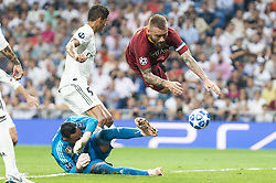 September 19, 2018 - Madrid, Spain - Real Madrid Keylor Navas and A.S. Roma Daniele De Rossi during UEFA Champions League match between Real Madrid and A.S.Roma at Santiago Bernabeu Stadium in Madrid, Spain. September 19, 2018. (Credit Image: © Coolmedia/NurPhoto/ZUMA Press)