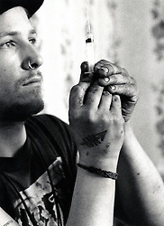 Heroin addicts in squat, Hucknall Road, Nottingham UK 1991