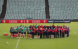 British & Irish Lions respect a minutes silence for the victims of the London Bridge terrorist attack during the captain's run at the QBE Stadium, Auckland.
