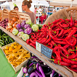 Fresh vegetables at the Heron Pond Farm stand at the farmer's market in Portsmouth, New Hampshire.