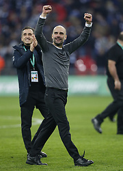 BRITAIN-LONDON-FOOTBALL-CARABAO CUP FINAL-CHELSEA VS MAN London.(190224) -- LONDON, Feb. 24, 2019  Manchester City's manager Pep Guardiola celebrates victory after the Carabao Cup Final match between Chelsea and Manchester City at Wembley Stadium in London, Britain on Feb. 24, 2019. Manchester City won 4-3 on penalties after a 0-0 draw.  FOR EDITORIAL USE ONLY. NOT FOR SALE FOR MARKETING OR ADVERTISING CAMPAIGNS. NO USE WITH UNAUTHORIZED AUDIO, VIDEO, DATA, FIXTURE LISTS, CLUB/LEAGUE LOGOS OR ''LIVE'' SERVICES. ONLINE IN-MATCH USE LIMITED TO 45 IMAGES, NO VIDEO EMULATION. NO USE IN BETTING, GAMES OR SINGLE CLUB/LEAGUE/PLAYER PUBLICATIONS. (Credit Image: © Matthew Impey/Xinhua via ZUMA Wire)