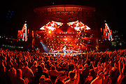 Jason Aldean performing at PNC Park in Pittsburgh, PA on July 27, 2014 on the Burn It Down Tour.